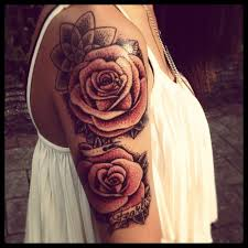 red cute rose tattoo on shoulder tattoomagz