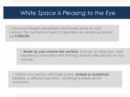resume white space what to do and not do for a visually appealing resume