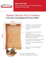 amazon com sb trays bamboo serving tray w handles serve food