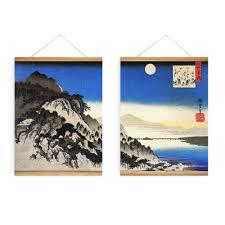 2 pieces japanese moon river landscape decoration wall