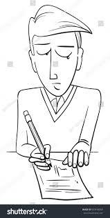 black white cartoon illustration teenage boy stock vector