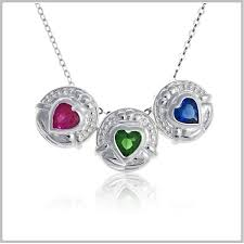 birthstone necklace claddagh family necklace personalized family mothers jewelry