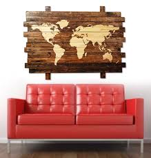 extra large rustic stained wood world map wall art 50