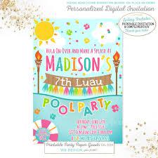 sunshine invitation luau pool party invitation luau birthday invitation luau pool