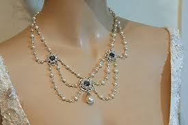 vintage blue stone necklace images Vintage bridal pearl necklace blue sapphire stones jpg