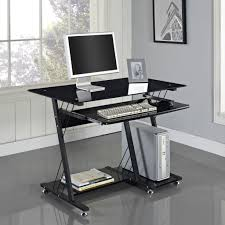 Black Computer Desk Desk Metal Glass Desk For Black Metal And Glass Computer Desk