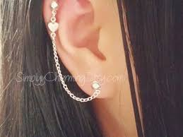 heart cartilage earring 56 cartilage earring chain makeupbymelby diy ear chain
