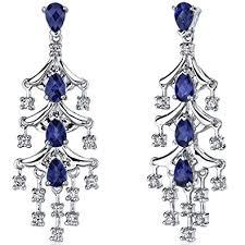 blue chandelier earrings created blue sapphire chandelier earrings sterling
