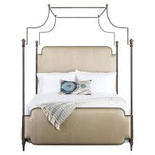 Upholstered Canopy Bed Kensington Modern Classic Beige Upholstered Canopy Bed