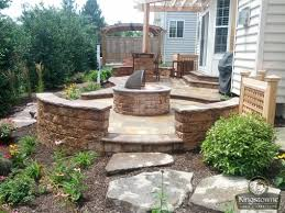 stunning 2 level paver patio with block seat wall fire pit