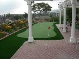 diy putting green backyard synthetic grass florida roof top