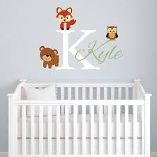 amazon com animals forest friends personalized kids name wall animals forest friends personalized kids name wall decal nursery monogram vinyl wall sticker fox bear and owl vinyl lettering for kids bedroom baby