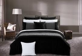 super king size arist black quilt cover set 3pcs pintuck grey