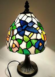 tiffany style stained glass small table bronze accent lamp
