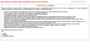 electronics worker work experience certificate