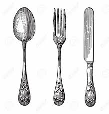 antique style engraving of cutlery spoon knife and fork royalty