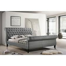 Tufted Sleigh Bed King Luxeo Nottingham Gray King Sleigh Bed K6317 Gry The Home Depot