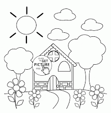 preschool house in spring coloring page for kids seasons coloring