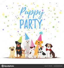 dog birthday party dog birthday party greeting card stock vector tkronalter9