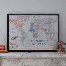 Map Fabric Personalised Embroidered Fabric Map Notice Board By The Crafty