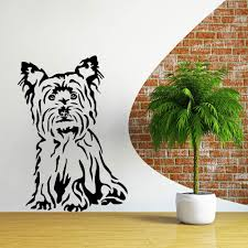 online buy wholesale house wall mural from china house wall mural cute pet dog sitting wall sticker yorkshire terrier perro wall mural house wall bedroom art decorative