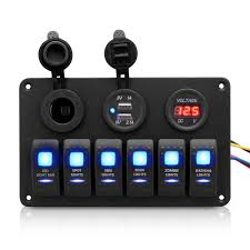 car marine boat 6 gang circuit blue led rocker switch panel