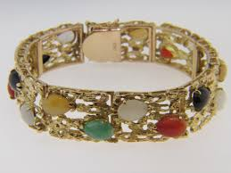multi colored gold bracelet images Vintage 1970 39 s 14k yellow gold and multi color jadeite jade jpg