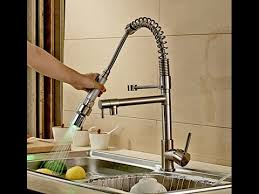 led kitchen faucet contemporary nickel brushed finish single handle led pull out