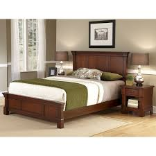 Nightstand Size The Aspen Collection Rustic Cherry Queen Size Bed And Nightstand