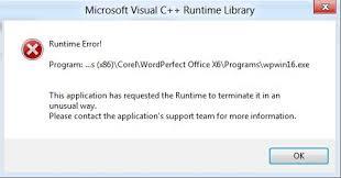 corel draw x5 runtime error wordperfect office x6 runtime error on windows 8 knowledge base