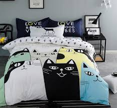 Teenage Duvet Sets Aliexpress Com Buy Cute Cartoon Cat Bed Set Teenage Children Kid
