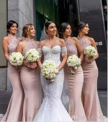 dusty bridesmaid dress dusty pink country style bridesmaids dresses 2018 halter mermaid