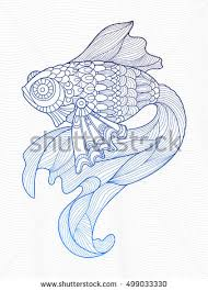 gold fish coloring book adults vector stock vector 497366551