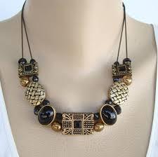 black glass necklace images Chico 39 s slider charms black glass antiqued metal necklace signed jpg