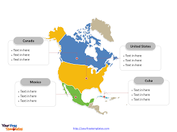 North America Continent Map by Free North America Editable Map Free Powerpoint Templates