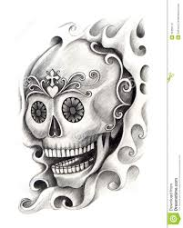 skull art tattoo stock illustration image 55355112
