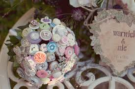 vintage bouquets flower alternatives bridal bouquets from etsy vintage button brooch