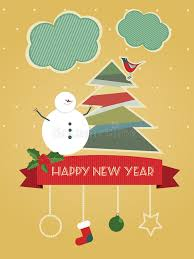happy new year post card vintage happy new year postcard stock vector illustration of
