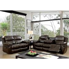 ellister transitional 2 piece brown bonded leather match reclining