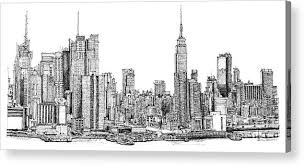 drawn skyline empire state building pencil and in color drawn