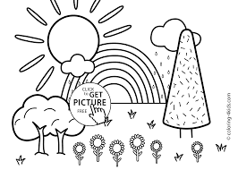 coloring page for kids with rainbow printable free