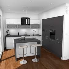 cuisine implantation cuisine design avec ilot central blanche et grise implantation en l