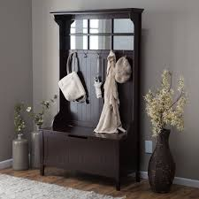 Entry Cabinet Furniture Espresso Entry Storage Bench Cabinet With Hanging Coat