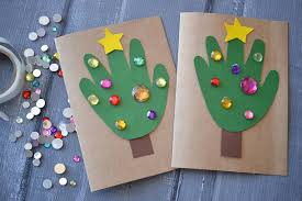 diy handprint christmas tree cards blitsy
