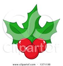 clipart of a cartoon christmas holly berry and leaves character