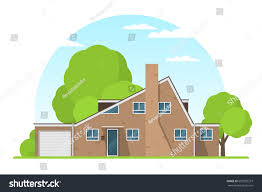 english style house frontview english style suburban private house stock vector