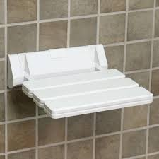 Foldable Shower Chair Wall Mount Folding Shower Seat With Angular Bracket White Bathroom