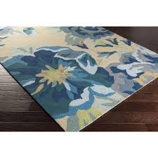 Modern Outdoor Rug Blue Roses Floral Outdoor Rug