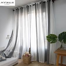 Curtains White And Grey Xyzls Europe Style Simple Striped Curtains White Grey Sheer