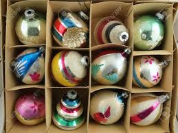 vintage christmas ornaments in their original box stock photo